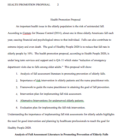 Health Promotion Proposal -